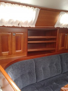 Interior shelves added for better stowage solutions, made using Mahogany, with lift out fiddles.